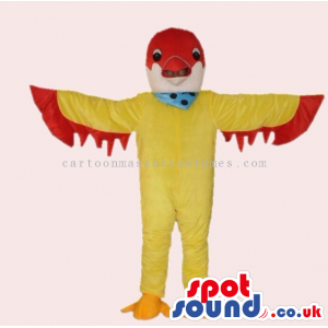 Customizable Colorful Yellow And Red Fantasy Bird Mascot -