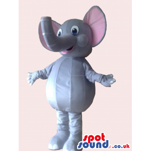 Cute Elephant Mascot With Trunk Facing Upwards And Pink Ears -