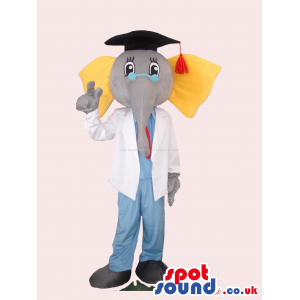 Elephant Mascot Wearing A Graduation Cap And Doctor Clothes -