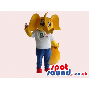 Cute Yellow Elephant Mascot Wearing A White T-Shirt With Text -