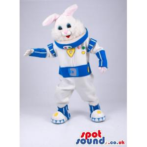 Astronaut hare mascot in blue and white costume with cute smile