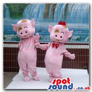 Pig Couple Mascots With Brown Spots And A Red Bow Tie - Custom