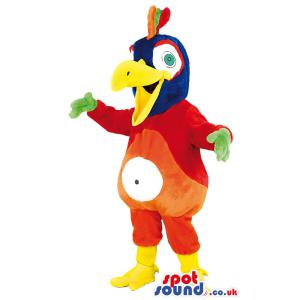 A parrot mascot with yellow beaks and multi colour body -