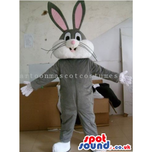 Bugs Bunny Grey Rabbit Character Mascot With A White Belly -