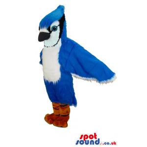 Bluebird mascot with sharp look and pointed beak in black and