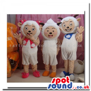 Three Different Sheep Mascots Wearing Scarfs And Ribbons -