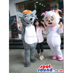 Couple Wolf And Sheep Plush Mascots With Different Garments -
