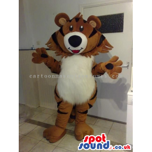 Brown Cute Tiger Animal Mascot With A Hairy White Belly -