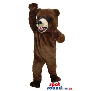 Brown bear mascot with scary face and waving his hand - Custom