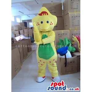 Yellow Creature Mascot With A Green Belly And Dots - Custom