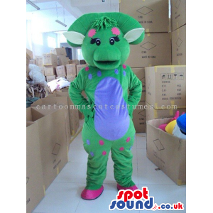 Green Creature Plush Mascot With A Blue Belly And Dots - Custom