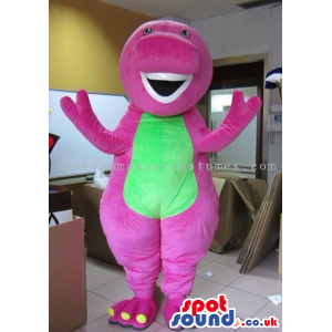 Pink Creature Plush Mascot With A Green Belly And Teeth -