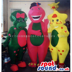 Three Creature Mascots In Different Colors And Sizes - Custom