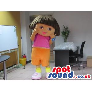 Dora The Explorer Girl Character Mascot From Cartoon Series -