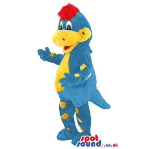 Yellow and blue crocodile mascot dancing with a nice smile -