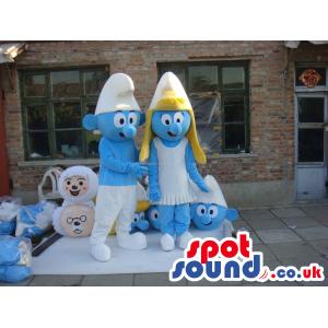 The Smurfs Blue Character Tv Cartoon Mascot Couple - Custom