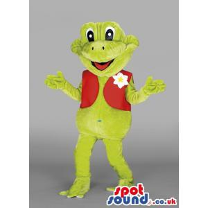 Frog mascot with a red half coat and a flower in it - Custom