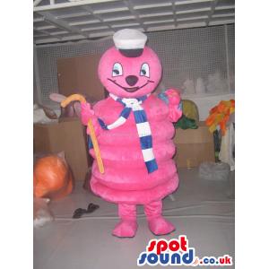 Pink Marshmallow Character Plush Mascot Wearing A Sailor Hat -