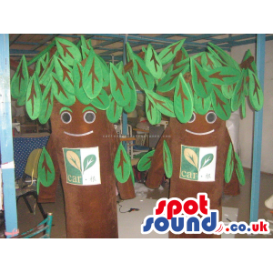 Two Trees Nature Character Mascots With Green Leaves And Logo -