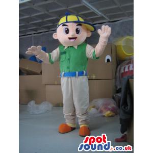 Boy Character Human Mascot Wearing A Green Shirt And A Yellow