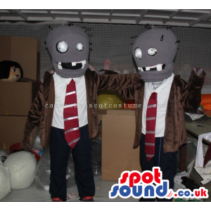 Two Grey Creature Mascots Wearing A Suit And Red Tie - Custom