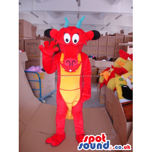 Red Dragon Mascot With Yellow Belly And Blue Horns - Custom