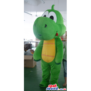 Customizable Green Dragon Mascot With A Yellow Belly - Custom