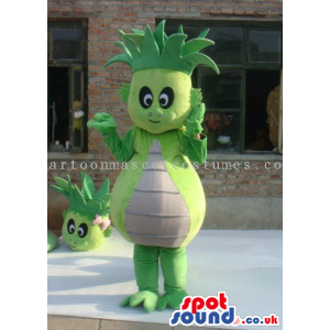 Flashy Green Dragon Mascot Wearing A Hat And A Blue T-Shirt -