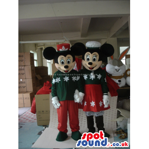 Mickey And Minnie Mouse Couple Mascots In Winter Clothes -