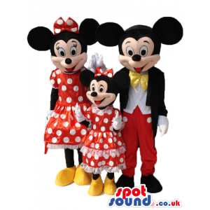 Minnie And Mickey Character Cartoon Mascots In Different Sizes