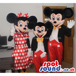 Three Disney Character Cartoon Mascots In Different Sizes -