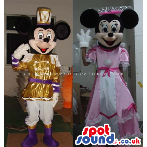 Mickey And Minnie Mouse Disney Couple Wearing Princess Clothes