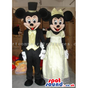 Mickey And Minnie Mouse Disney Couple Wearing Elegant Clothes -