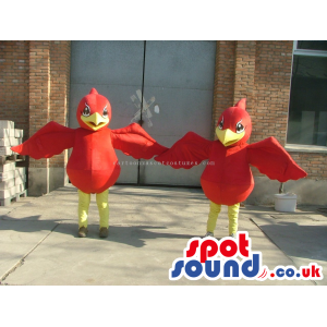 Customizable Two Red Bird Mascots With Yellow Legs And Beaks -