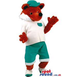 Cute teddy mascot with his hands up and giving a serious look -