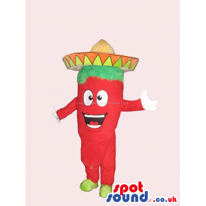 Mexican Chili Pepper Spicy Vegetable Funny Mascot With Hat -