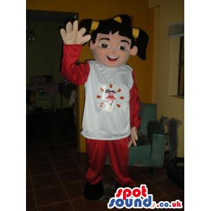 Girl mascot with pick tails, red and white outfit and black