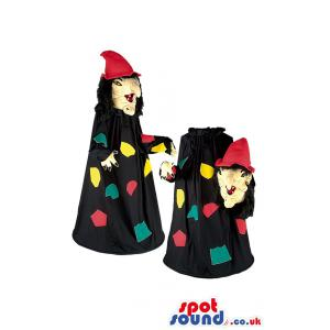 Witch mascot with witch hat & in black cloak with multicolour -