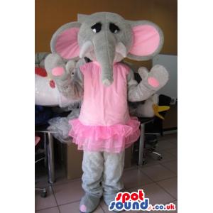 Girl Elephant Animal Plush Mascot Wearing Ballet Pink Clothes -