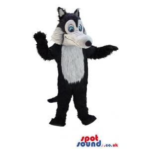 Wolf mascot with white & brown in an innocent & naughty mix