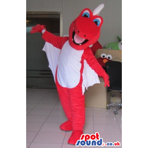 Red Dragon Mascot With A White Belly And Big Wings - Custom