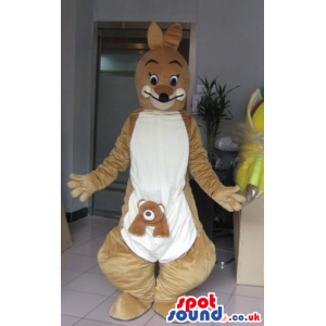 Brown Kangaroo Animal Plush Mascot With White Belly And Letter