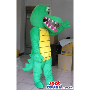 Cute Green Plush Dragon Mascot With A Yellow Belly - Custom