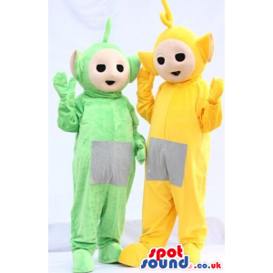 Two Teletubbies Plush Mascots Lala And Dipsy In Yellow And