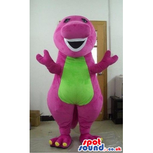 Cute Pink Fantasy Dragon Mascot With A Green Flashy Belly -