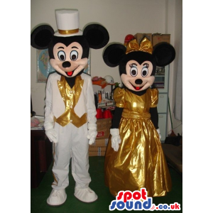Mickey And Minnie Mouse Disney Characters Wearing Golden