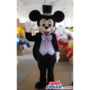Mickey Mouse Disney Character Wearing Elegant Clothes And Hat -