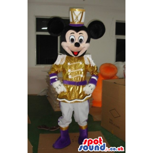 Mickey Mouse Disney Character Wearing Shinny Golden Clothes -
