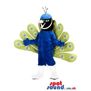 Peacock mascot with blue colour and green colour feathers -