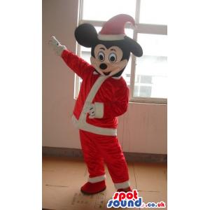 Mickey Mouse Disney Cartoon Character Wearing Santa Claus